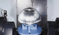 Finned sphere mounted on the 360 degree rotatory table. Photo courtesy of Doosan Infracore.
