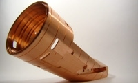 This research and development piece made of copper was produced largely with live tooling.